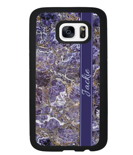 Purple and Gold Marble Personalized | Samsung Phone Case