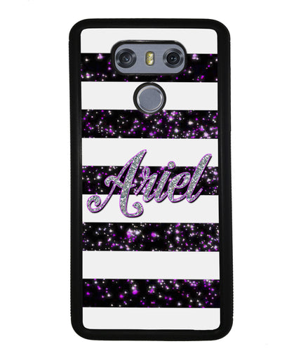 Purple Silver Glitter Bars Personalized | LG Phone Case