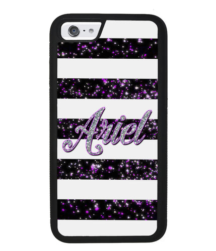 Purple Silver Glitter Bars Personalized | Apple iPhone Case