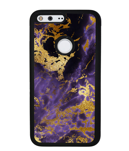 Purple and Gold Foil Marble | Google Phone Case