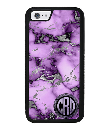 Purple and Silver Marble Monogram | Apple iPhone Case