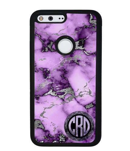 Purple and Silver Marble Monogram  | Google Phone Case