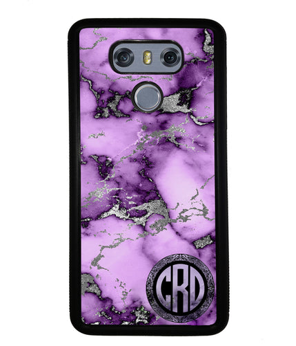 Purple and Silver Marble Monogram  | LG Phone Case