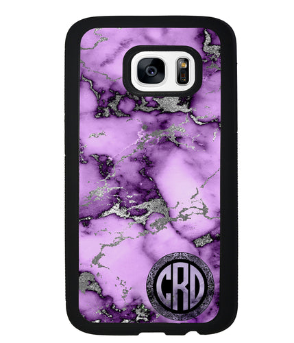 Purple and Silver Marble Monogram | Samsung Phone Case