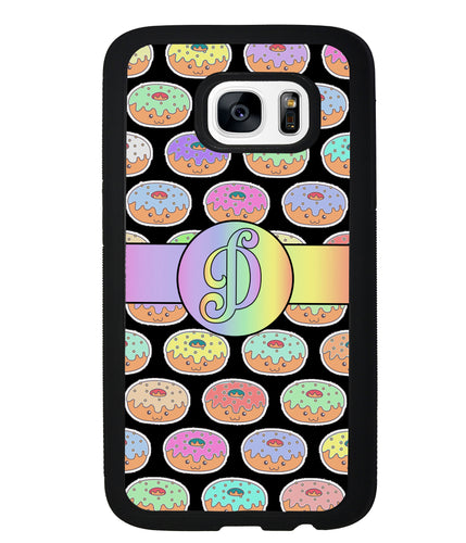 Rainbow Pastel Donuts Initial | Samsung Phone Case