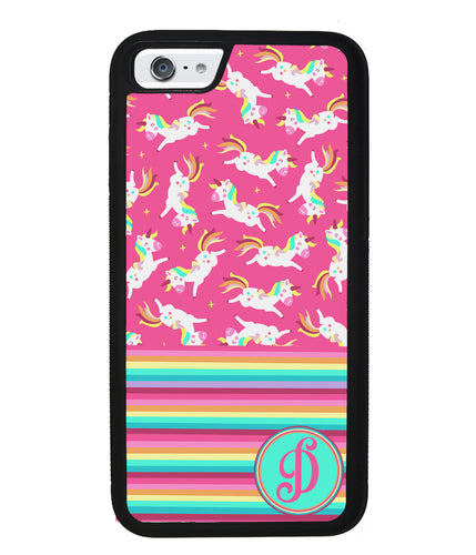 Rainbow Stripes Pink Unicorn Initial | Apple iPhone Case