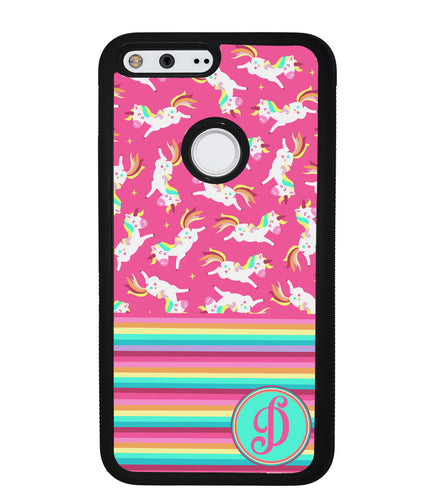 Rainbow Stripes Pink Unicorn Initial | Google Phone Case