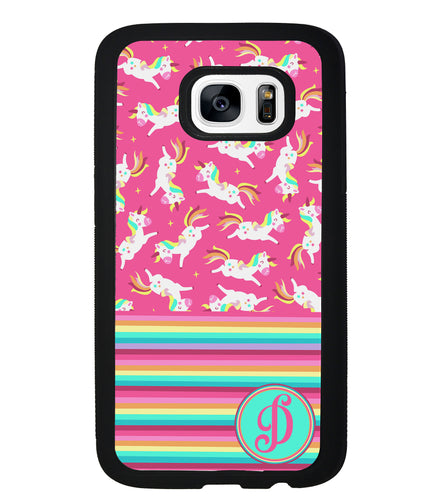 Rainbow Stripes Pink Unicorn Initial | Samsung Phone Case