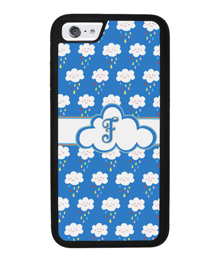 Rainy Storm Clouds Initial | Apple iPhone Case