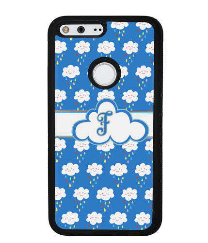 Rainy Storm Clouds Initial | Google Phone Case