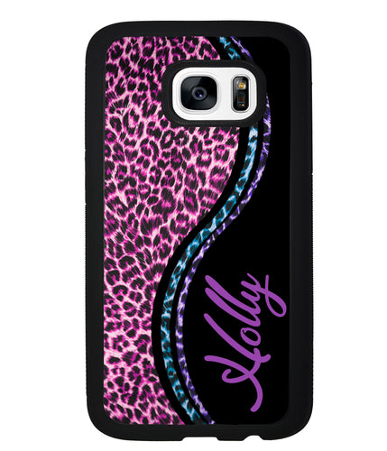 Colorful Leopard Curvy Personalized | Samsung Phone Case
