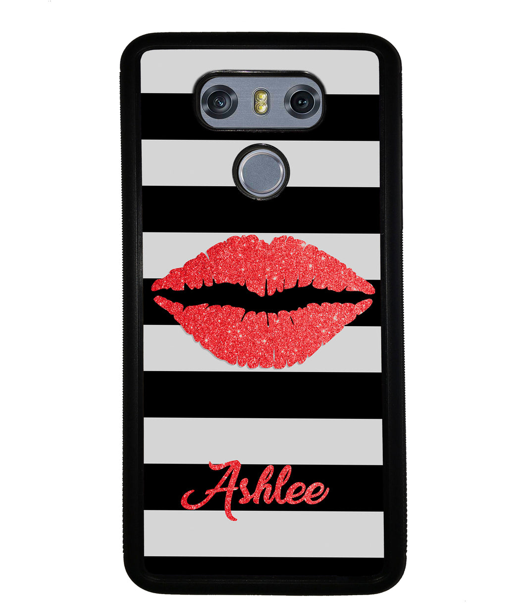Black White Bars Red Lips Personalized | LG Phone Case