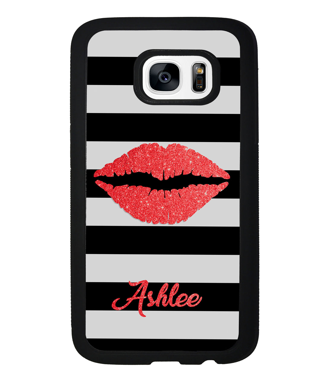 Black White Bars Red Lips Personalized | Samsung Phone Case