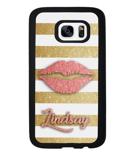 Red Glitter Lips Gold Bars Personalized | Samsung Phone Case