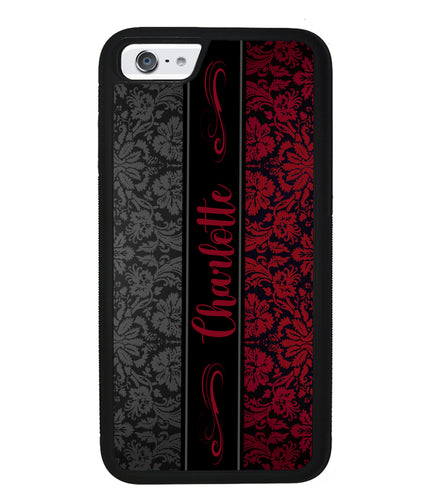 Red and Black Damask Personalized | Apple iPhone Case