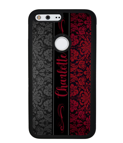 Red and Black Damask Personalized | Google Phone Case