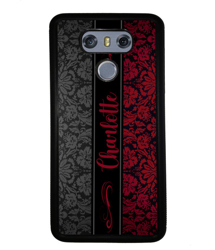 Red and Black Damask Personalized | LG Phone Case