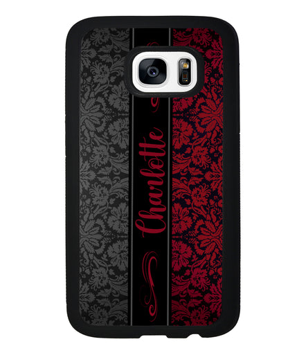 Red and Black Damask Personalized | Samsung Phone Case