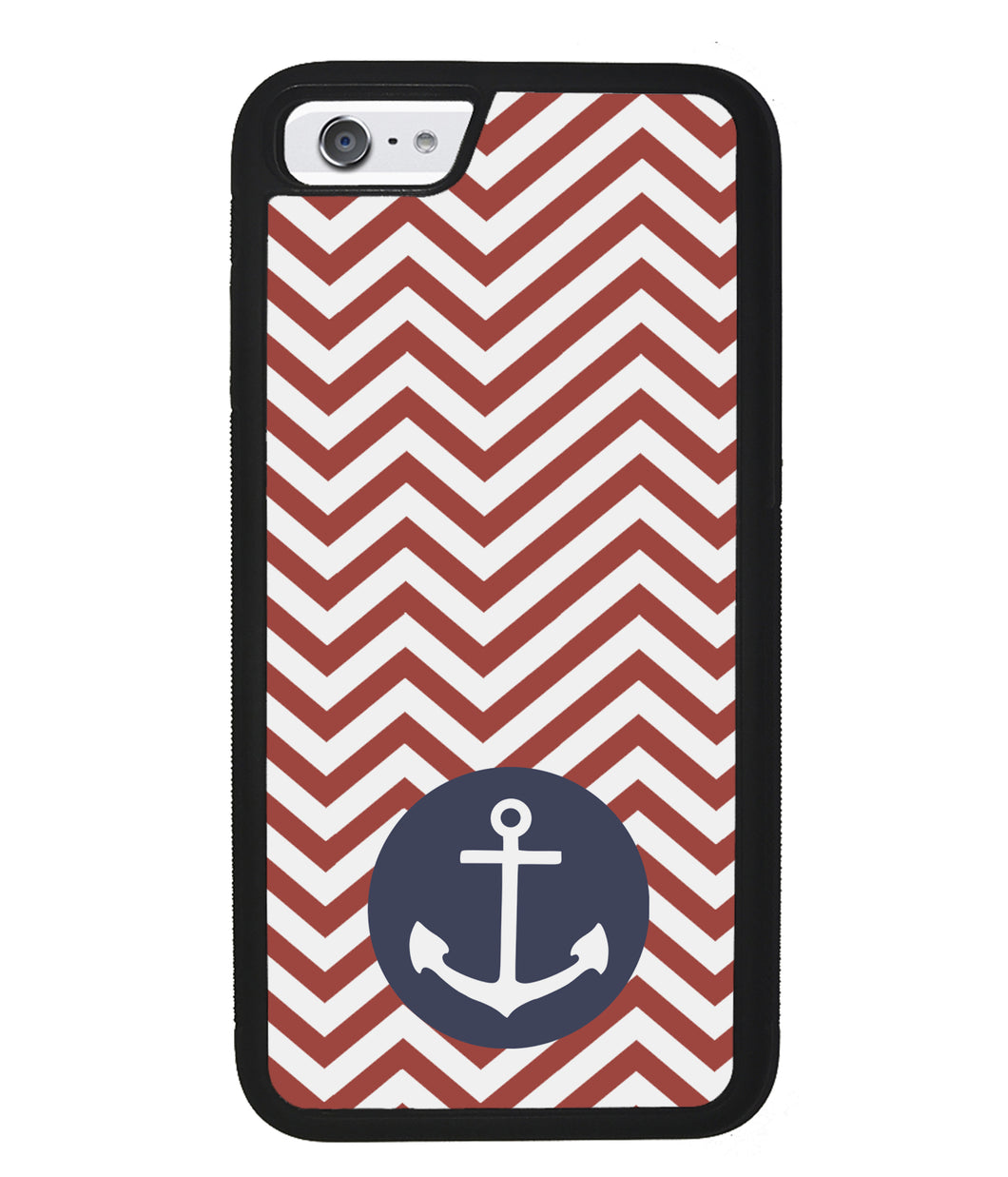 Red and White Chevron with Anchor | Apple iPhone Case