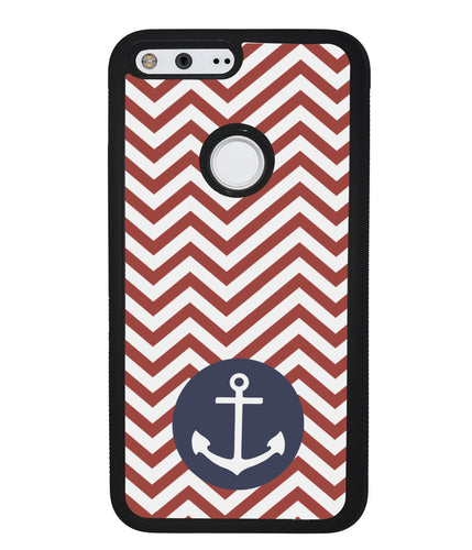 Red and White Chevron with Anchor | Google Phone Case