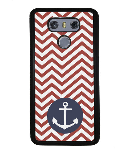Red and White Chevron with Anchor | LG Phone Case