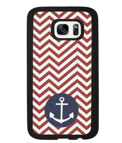 Red and White Chevron with Anchor | Samsung Phone Case