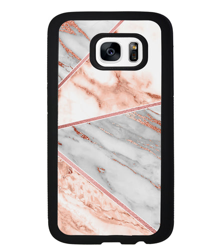 Rose Gold Marble Triangles | Samsung Phone Case