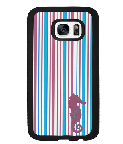 Sea Horse Candy Stripe Initial | Samsung Case