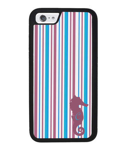 Sea Horse Candy Stripe Initial | Apple iPhone Case