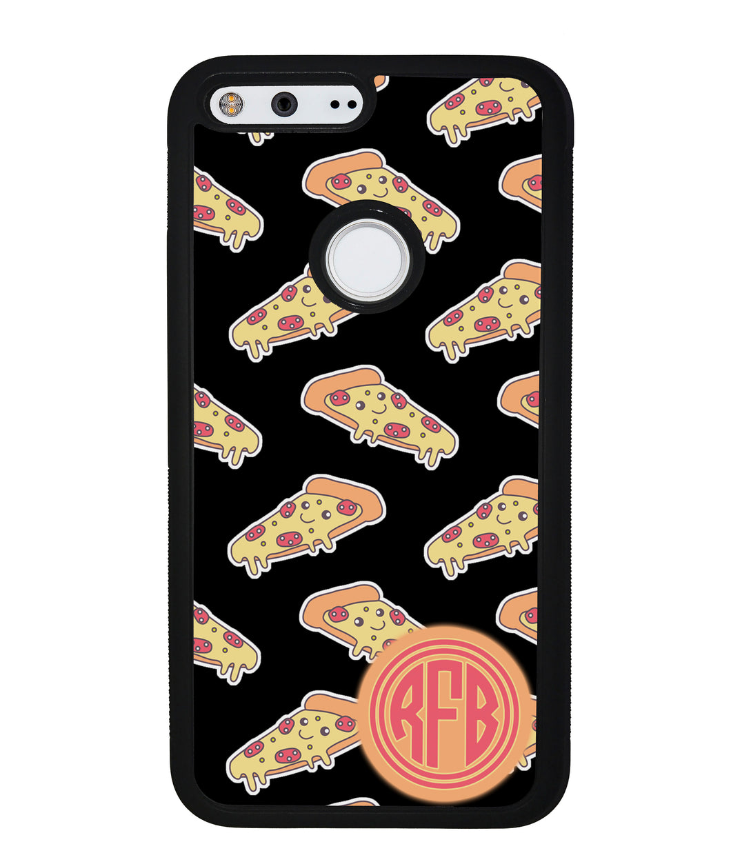 Smiley Face Pizza Monogram | Google Phone Case