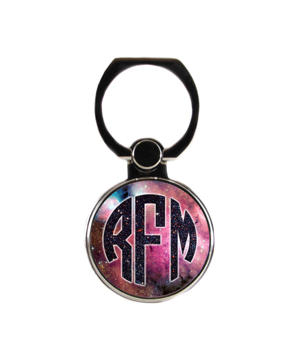 Space and Universe Circle Personalized Monogram Phone Ring