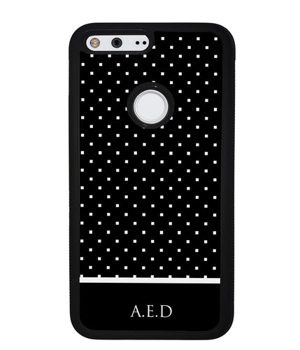 Black and White Polka Dots Monogram | Google Phone Case