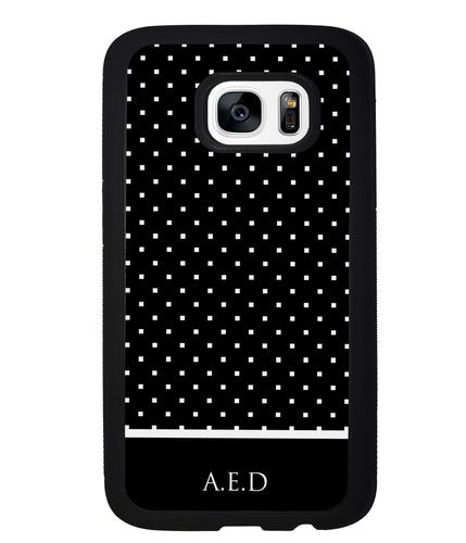 Black and White Polka Dots Monogram | Samsung Phone Case
