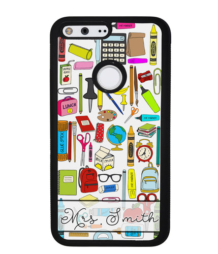 Teacher Appreciation School Supplies Collage Personalized | Google Phone Case