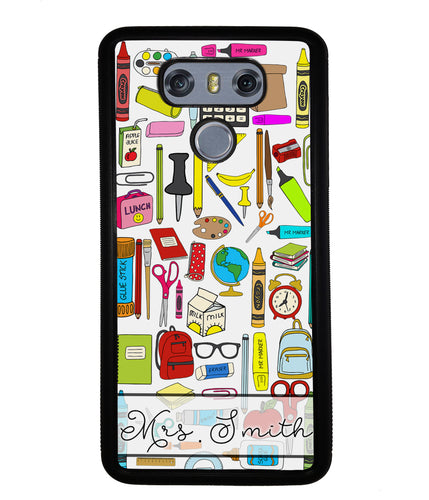 Teacher Appreciation School Supplies Collage Personalized | LG Phone Case