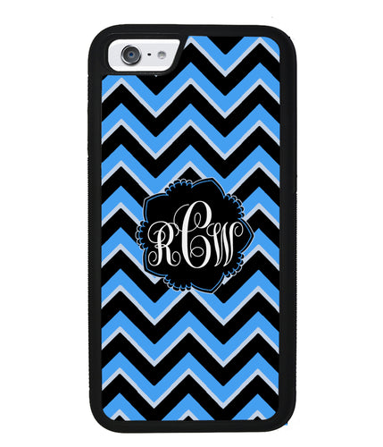 Teal Black Blue Chevron Monogram | Apple iPhone Case