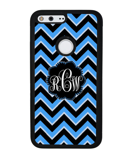 Teal Black Blue Chevron Monogram | Google Phone Case