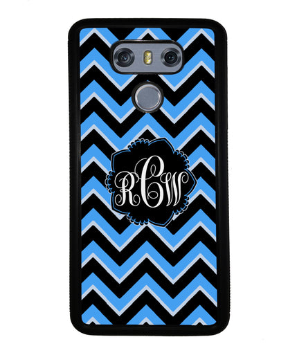 Teal Black Blue Chevron Monogram | LG Phone Case
