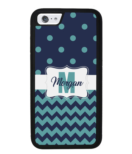Teal Dark Blue Polka Dot Chevron Personalized | Apple iPhone Case