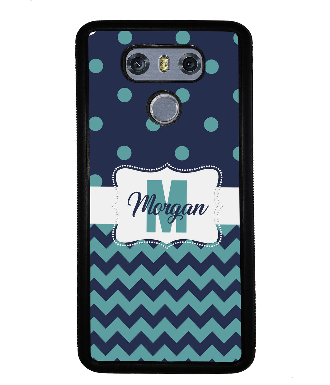 Teal Dark Blue Polka Dot Chevron Personalized | LG Phone Case
