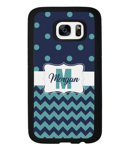 Teal Dark Blue Polka Dot Chevron Personalized | Samsung Case