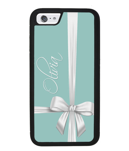 Teal Blue Bow Personalized | Apple iPhone Case