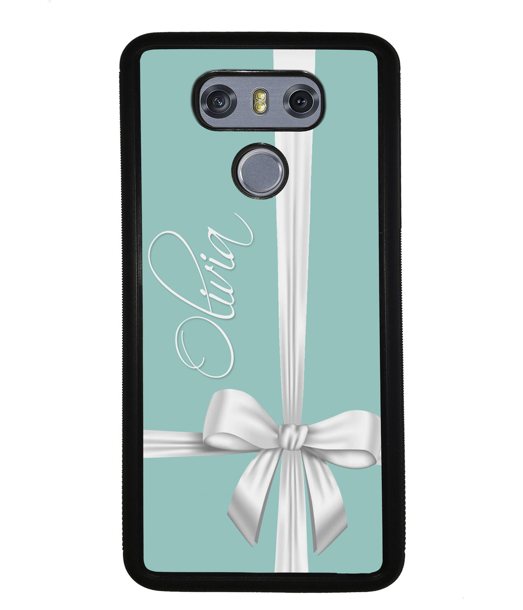 Teal Blue Bow Personalized | LG Phone Case