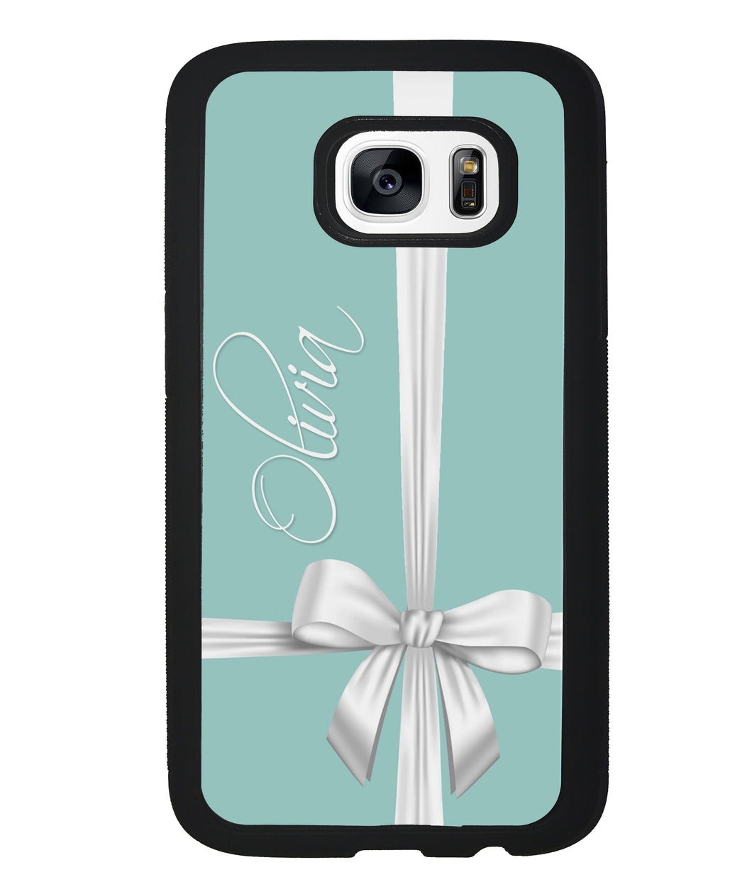 Teal Blue Bow Personalized | Samsung Case