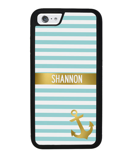 Teal White Bars Anchor Personalized | Apple iPhone Case