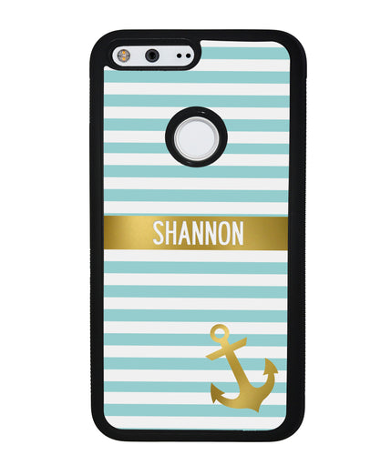 Teal White Bars Anchor Personalized | Google Phone Case