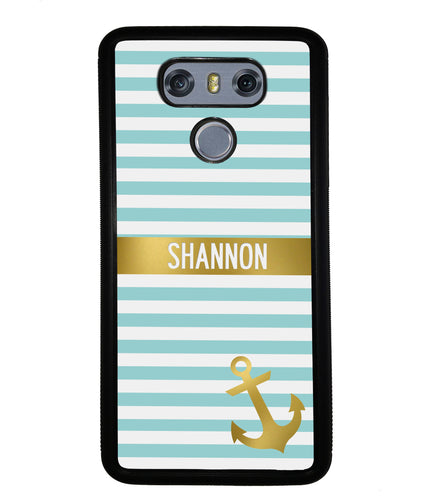 Teal White Bars Anchor Personalized | LG Case