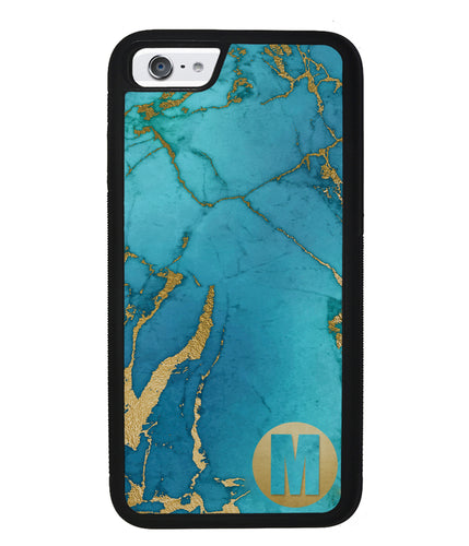 Teal and Gold Marble Initial | Apple iPhone Case