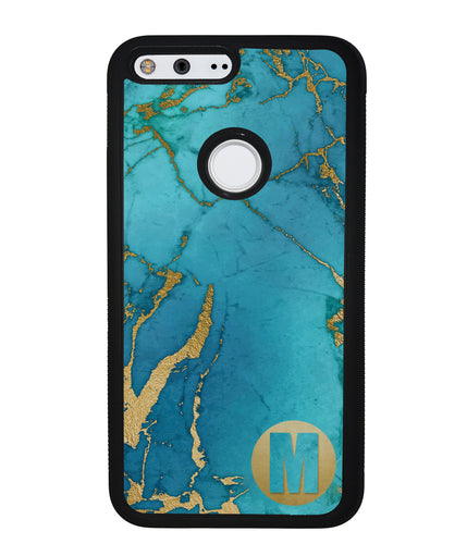 Teal and Gold Marble Initial | Google Phone Case