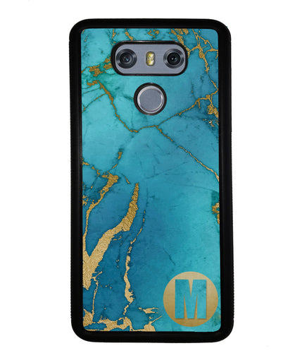 Teal and Gold Marble Initial | LG Phone Case